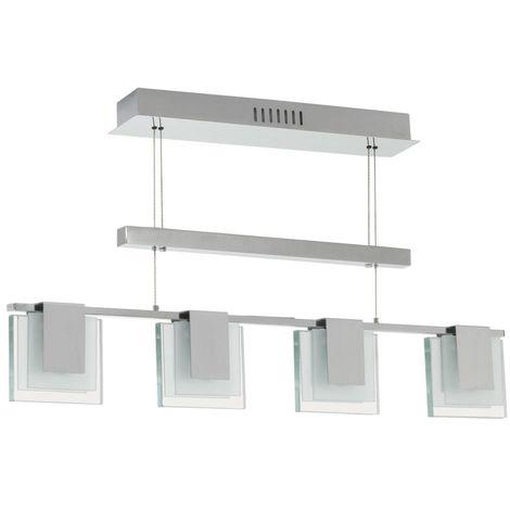 Suspension lampe luminaire lustre salle de séjour cuisine couloir 4 spots verre