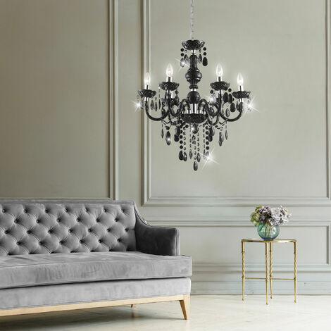 """main image of """"Suspension lampe lustre salle à manger plafonnier lustre noir Globo CUIMBRA 63110-6"""""""
