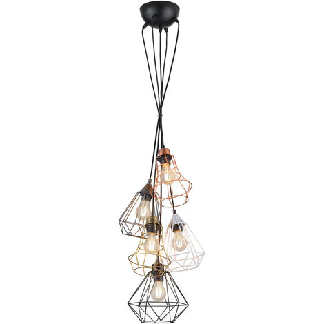 Suspension LED, design cage, multicolore, H 150 cm, MEIKE