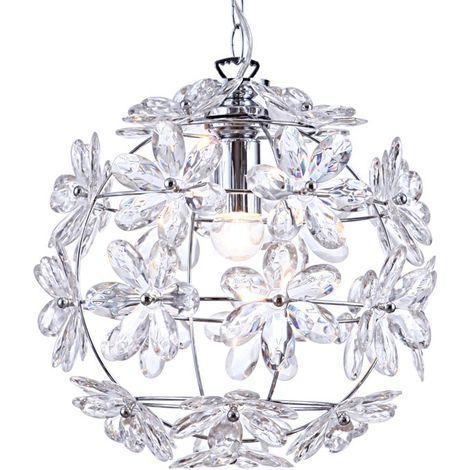 Suspension LED en fleur en chrome et acrylique transparent