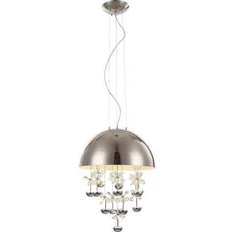Suspension LED, fleurs en cristal, H 120 cm