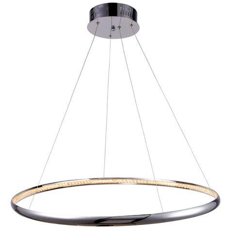 Suspension LED prestige design D80 cm - Saturne - Argenté / Chromé