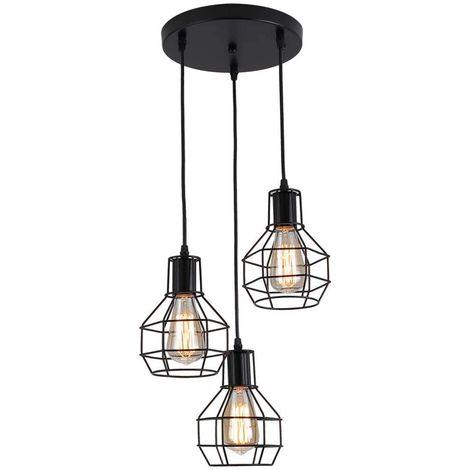 suspension luminaire cage en m tal 3 lumi res lustre. Black Bedroom Furniture Sets. Home Design Ideas