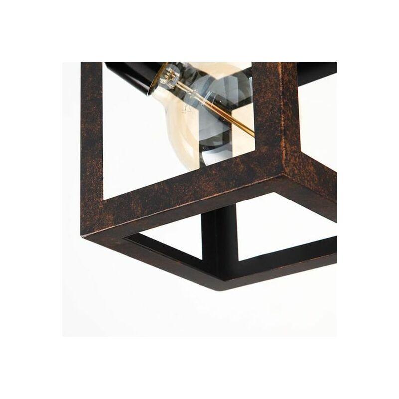 E27 Rouille Design Lustre Manger Luminaire Salle Intérieur Suspension Métal Industriel Cube À reodxBCW