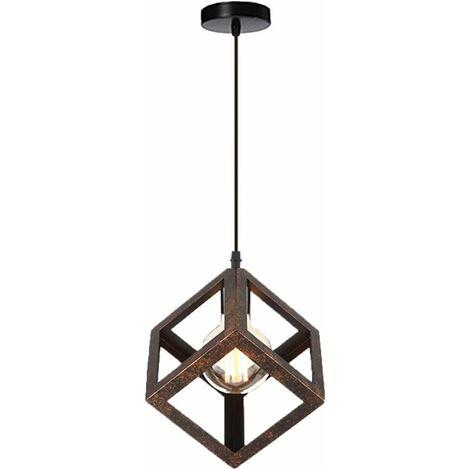 Suspension luminaire design cube m tal industriel lustre int rieur salle manger e27 rouille - Lustre salle a manger design ...