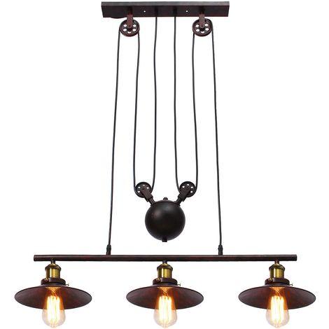 Suspension luminaire en 3 lampes ajustable Rétro réglable Sasicare