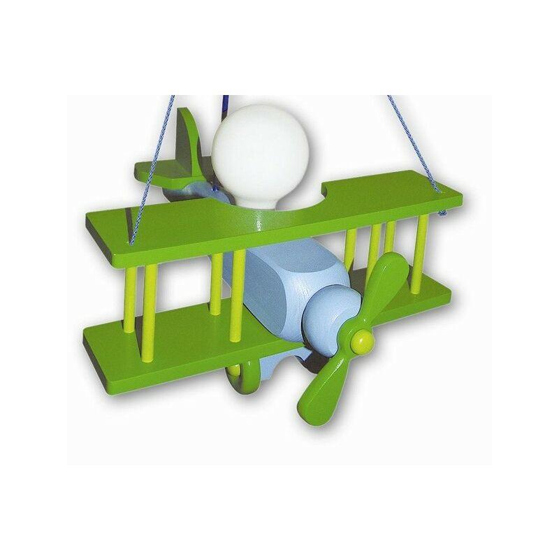 Waldi Leuchten - Suspension Luminaire Enfant Aeronef XXL bleu vert - Bleu