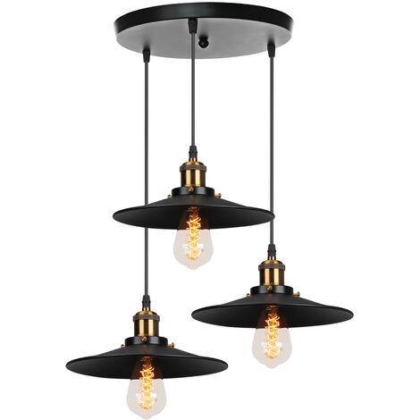 Suspension Luminaire Industriel Barre de 3 Lampe, R?tro Lustre abat-jour  Vintage Plafonnier Lampe pour Salle ? manger salon cuisine bar
