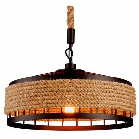 Suspension Luminaire Industriel Retro 40cm Noir , La lumière au plafond en fer Corde de chanvre Vintage Loft Lustre Plafonnier Décoration pour Salon, Cuisine, Restaurant, Bar