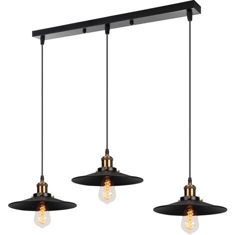 Suspension Luminaire Industrielle E27 22cm Retro lustre Abat-jour Metal Luminaire Noir
