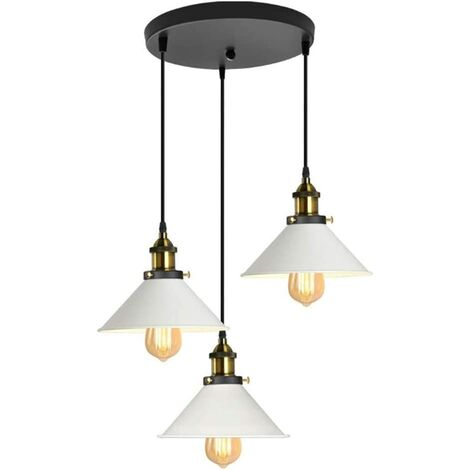 Suspension Luminaire Industrielle Vintage en Métal Fer