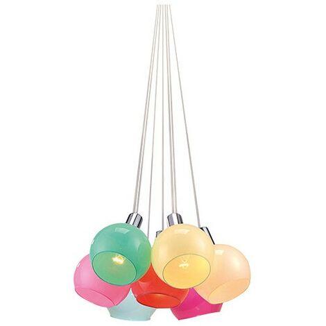 Suspension luminaire multicolore 7 lumières Délicato