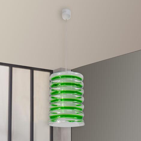 Suspension luminaire plafond en verre Lustre Plafonnier spirale teinté vert