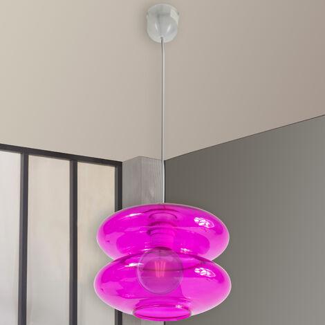 Suspension luminaire plafond en verre transparent Eclairage plafonnier suspendu rose fuchsia
