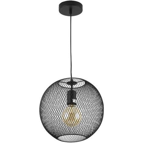 Suspension Luminaire suspendue Lampe Lustre E27 Plafonnier Diamètre Ø: 26,5 cm Noir Métal
