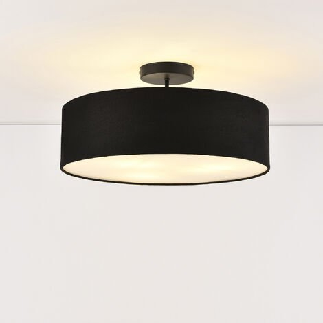 Suspension Luminaire Suspendue Plafonnier Noir et Blanc 3 x E27 Plastique Organza Diamètre 45 cm