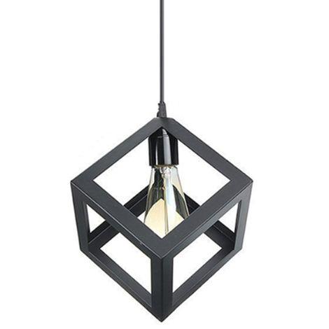 """main image of """"Suspension luminaire vintage cage cube, Lustre industriel métal corde ajustable pour salon cuisine chambre"""""""