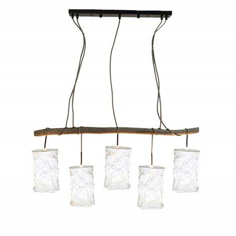 Suspension lustre 5 abats-jour blanc - WOODEN - bois