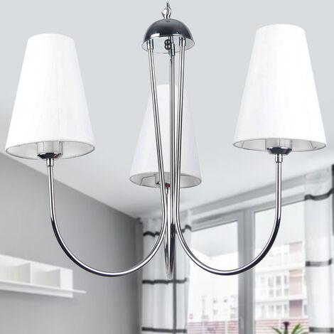 Suspension lustre blanc 3 lumières en métal et tissu Design moderne classique