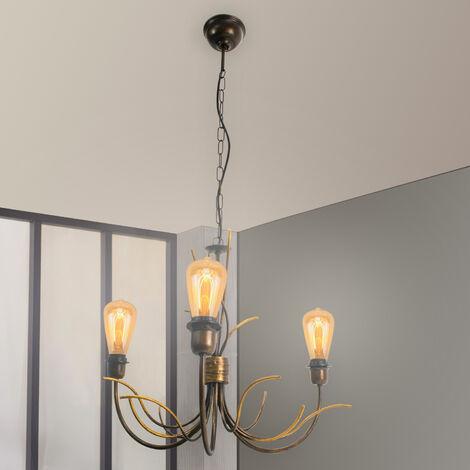Suspension lustre chandelier rouille style ancien 3 lumières en métal
