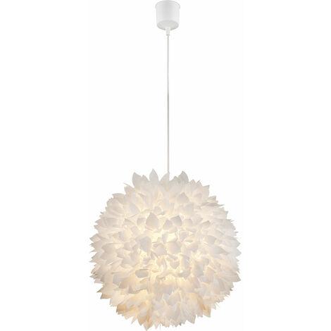 Suspension lustre éclairage plafonnier fleurs blanc feuilles salle de séjour