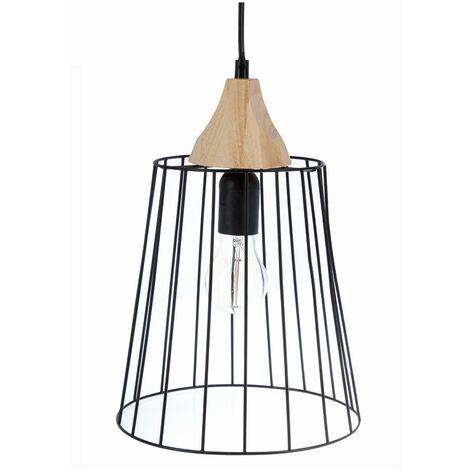 Suspension lustre en fil métal et bois - Style vintage - Coloris Noir et Bois
