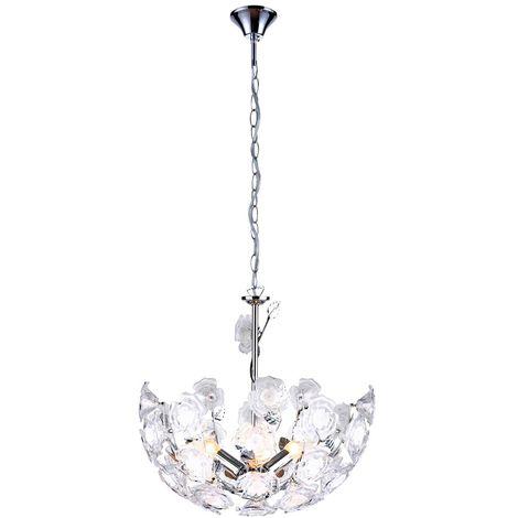 Transparent Lustre Suspension Luminaire Plafond Éclairage Fleurs Floral Roses htsQrCdx