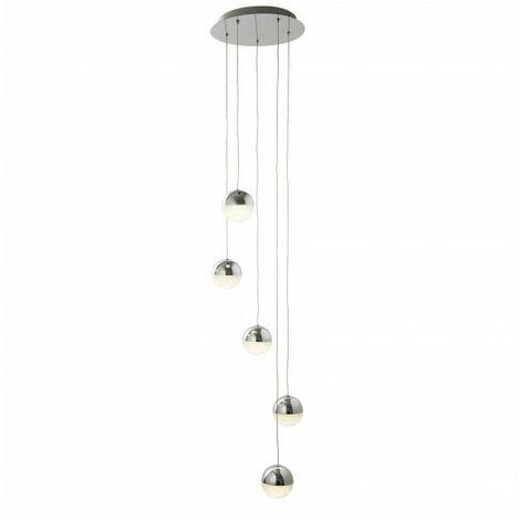 Suspension Marbles, chrome et verre, 5 ampoules
