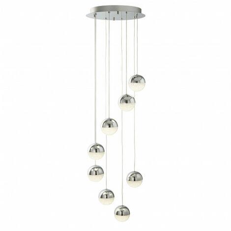Suspension Marbles, chrome et verre, 8 ampoules