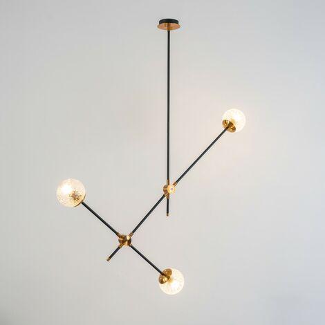 Suspension minimaliste 2 tiges en métal noir - Yoni - Noir et doré