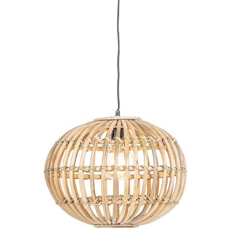 Suspension nationale en bambou - Canna Qazqa Rustique Luminaire interieur Globe