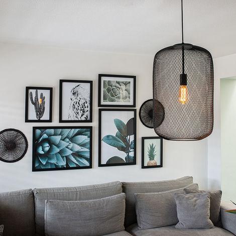 Suspension noire Moderne - Bliss Mesh Qazqa Moderne Cage Lampe Luminaire interieur Cylindre / rond