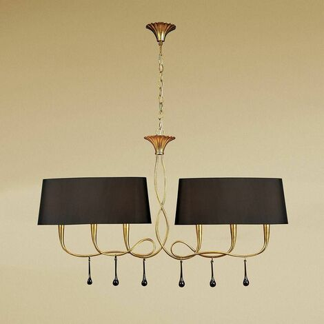 Suspension Paola 2 Arm 6 Bulbs E14, painted gold with black lampshades & amber glass droplets
