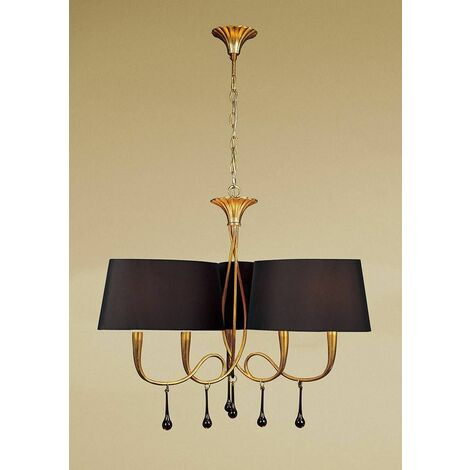 Suspension Paola 3 Arm 6 Bulbs E14, painted gold with black lampshades & amber glass droplets