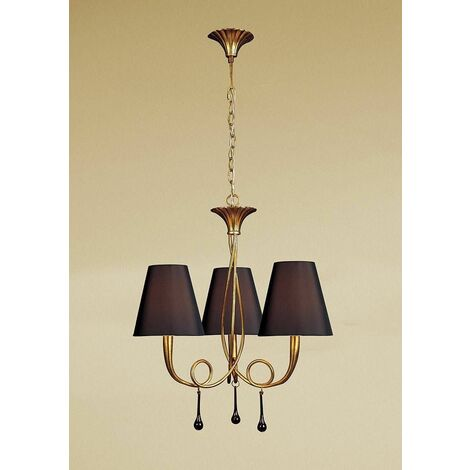 Suspension Paola 3 Bulbs E14, painted gold with black lampshades & amber glass droplets