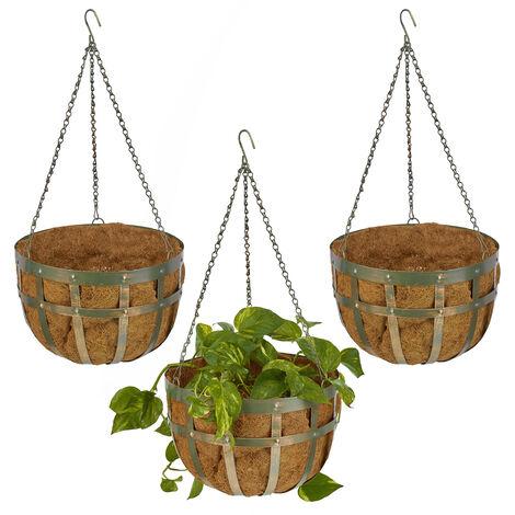 Suspension plante, lot de 3, avec paniers en fibre de coco, crochet, HxD 75 x 35 cm, pot de fleurs, vert