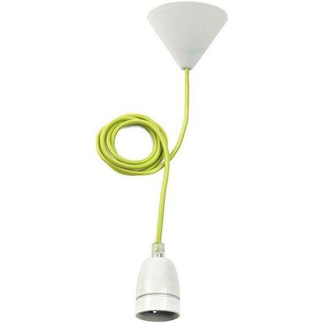 Suspension porcelaine TOKIA blanche câble vert