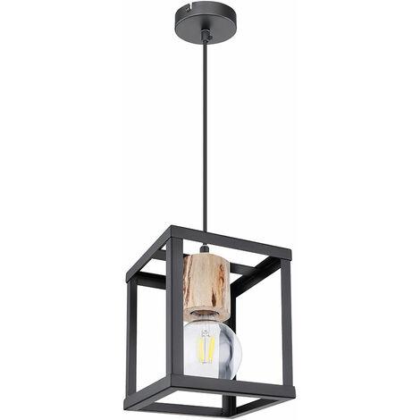 Suspension rétro dimmable en bois pendule noir mat plafonnier télécommande dans un ensemble comprenant des ampoules LED RGB
