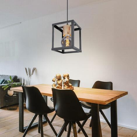 Suspension rétro filament bois pendule noir -mat Plafonnier chambre d'amis dans un ensemble comprenant des ampoules LED