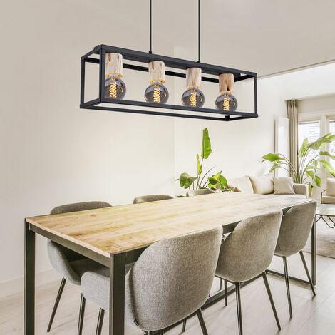 Suspension rétro pendule en bois noir mat plafonnier éclairage de la chambre Globo 15476-4H