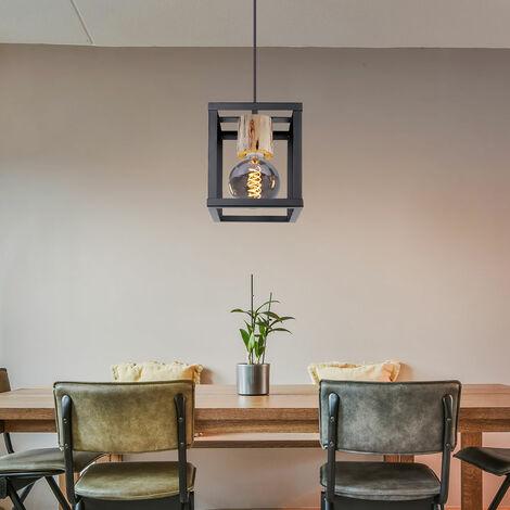 Suspension rétro pendule en bois noir mat plafonnier éclairage de la chambre Globo 15476H