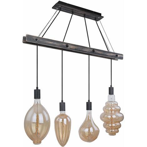 Suspension rétro plafond poutre de bois salon suspension FILAMENT dans un ensemble comprenant des ampoules LED