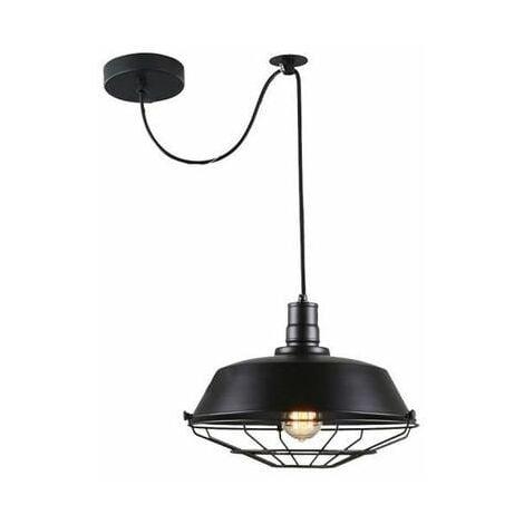 Suspension Rétro Vintage Lustre Plafonnier EXBON Lampe Luminaire Industriel Noir (NO Ampoule inclus )