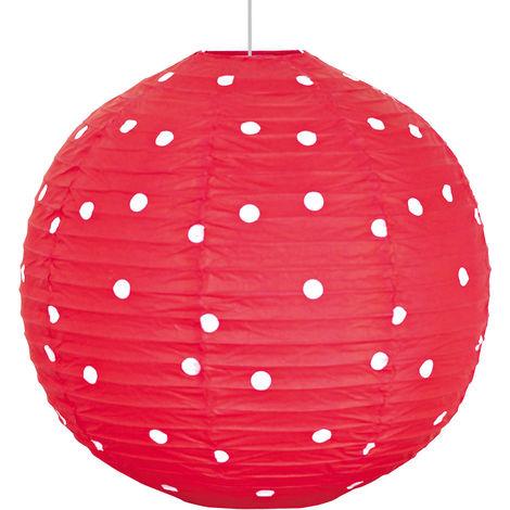 Suspension ronde luminaire lustre boule rouge points blancs éclairage textile