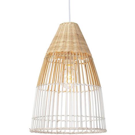 Suspension rurale bambou et blanc - Bambou Qazqa Art Deco Luminaire interieur Rond