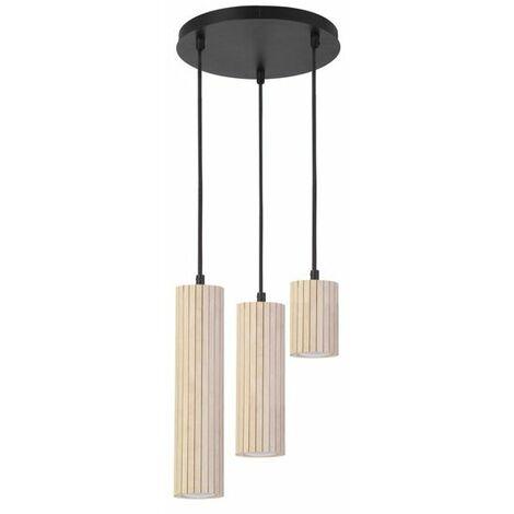 Suspension Scandinave 3 lumières Jules bois et métal noir - Noir