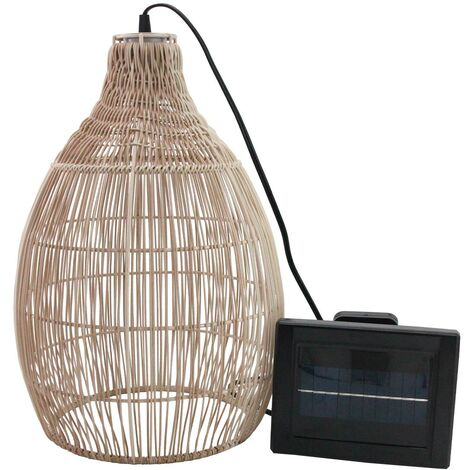 Suspension solaire bohème naturel style vannerie tressée LED blanc chaud HOLIDAY H42cm