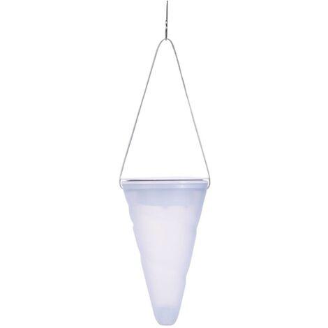 Suspension solaire conique HANG CREAMY transparent plastique H27cm