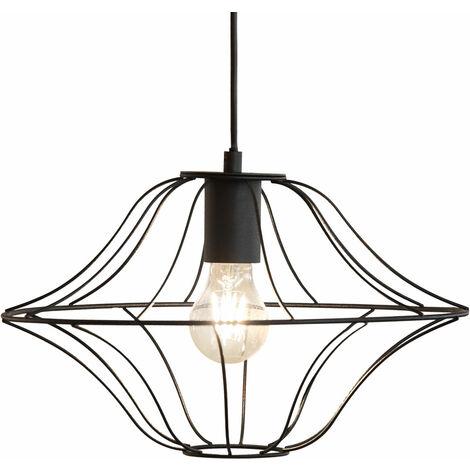Suspension suspension suspension cage salon plafonniers, métal noir, LED blanc chaud, DxH 35x150