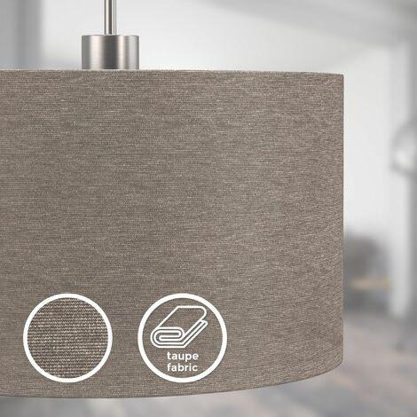 Suspension textile éclairage plafond abat-jour taupe salon salle à manger douille E27 - BKL1224